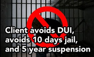 Tampa DUI lawyer helps client avoid DUI  for second Tampa DUI arrest within 5 years.